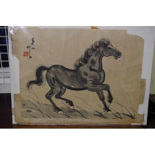 627 - <strong>Chinese School,</strong> a cantering horse, a pair, each signed, monochrome watercolour, 32 ...