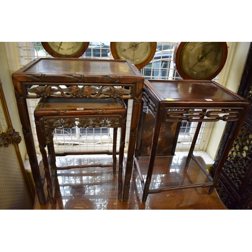 631 - <strong>Three various Chinese hardwood occasional tables,</strong> largest 43cm wide....