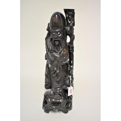 637 - <strong>A large Chinese carved wood and metal wire inlaid figural lamp,</strong> 49cm high....