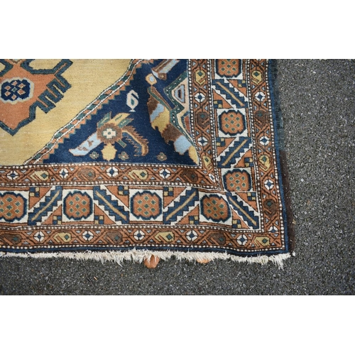 1105 - <strong>A Turkish carpet, </strong>having yellow central field and geometric design, 297 x 195cm....