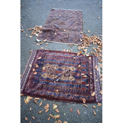 1119 - <strong>Two old Persian rugs, </strong>having geometric design, largest 155 x 96cm....