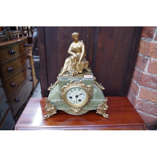 1124 - <strong>A Louis XVI style green onyx and gilt metal mantel clock,</strong> 34cm high, (lacking ...