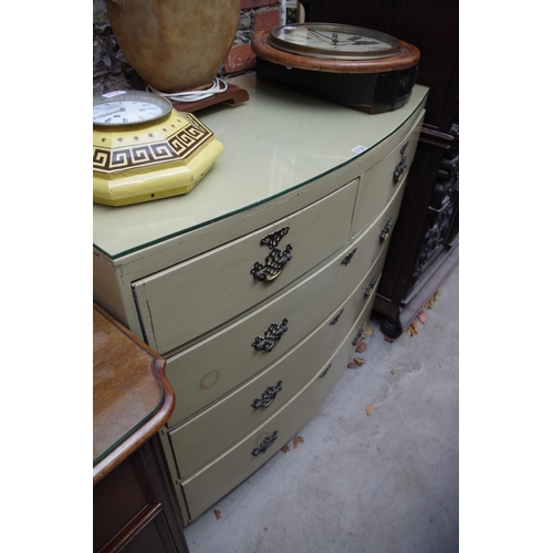 1133 - <strong>An antique cream painted bow front chest of drawers,</strong> 100.5cm wide. ...
