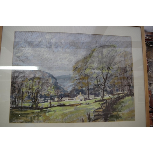 1142 - <strong>Aubrey Phillips,</strong> 'Spring near Kettlewell', signed and dated '70, pastel, 51.5 x 71....