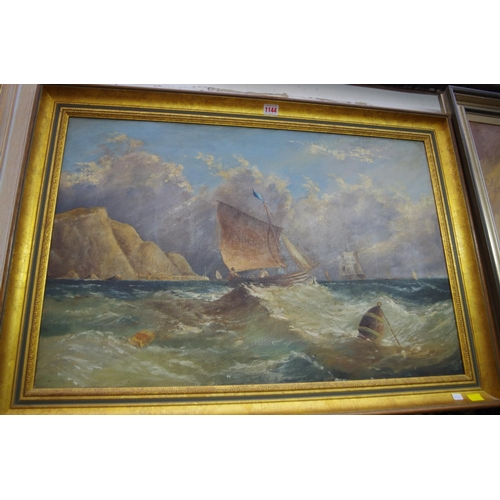 1144 - <strong>English School,</strong> sailing boat in choppy seas, unsigned, oil on canvas, 49.5 x 75cm.&...