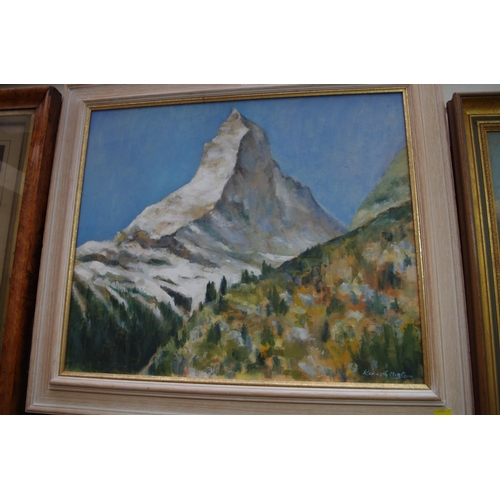 1145 - <strong>Kenneth Higton,</strong>'The Matterhorn', signed, oil on canvas, 48.5 x 58cm....