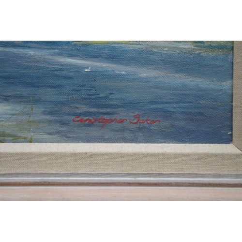 1147 - <strong>Christopher Baker,</strong>'Bosham', signed, oil on canvas, 37 x 65cm; together with a...
