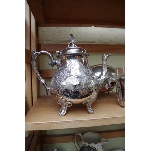 1151 - <strong>A small quantity of silver plate,</strong> to include a miniature breakfast dish, 22cm wide;...