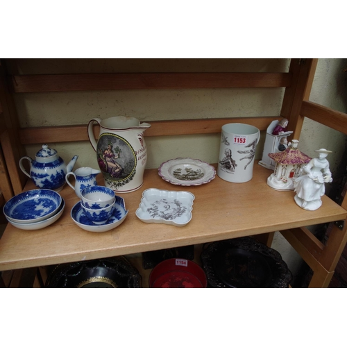 1153 - <strong>An interesting group of 18th and 19th century pottery and porcelain,</strong> to include a c...