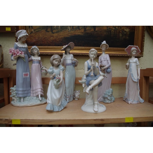 1157 - <strong>Four Lladro figures, </strong>largest 32.5cm high; together with two other similar figures....