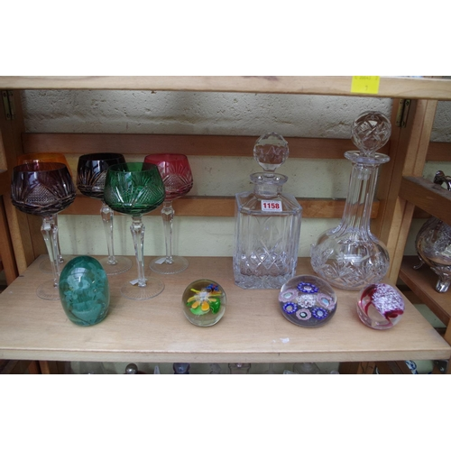 1158 - <strong>A collection of English and Continental clear and coloured glass, </strong>to include an ant...