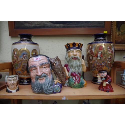 1163 - <strong>Two Royal Doulton character jugs;</strong> together with a Wedgwood 'Ye Olde Town Hall Night...