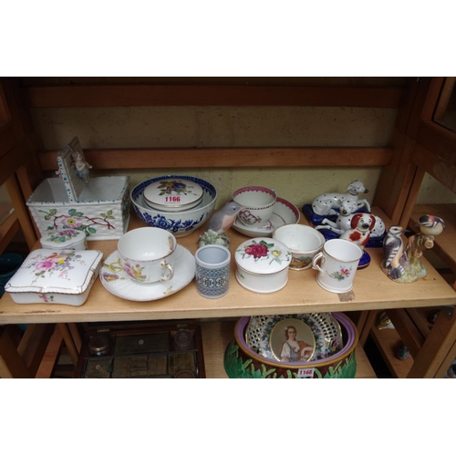 1166 - <strong>A mixed group of English and Continental pottery and porcelain,</strong>to include a Royal ...