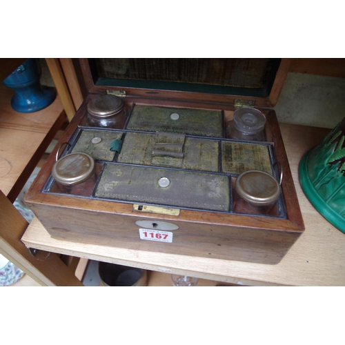 1167 - <strong>A 19th century rosewood toilet box,</strong>25cm wide....