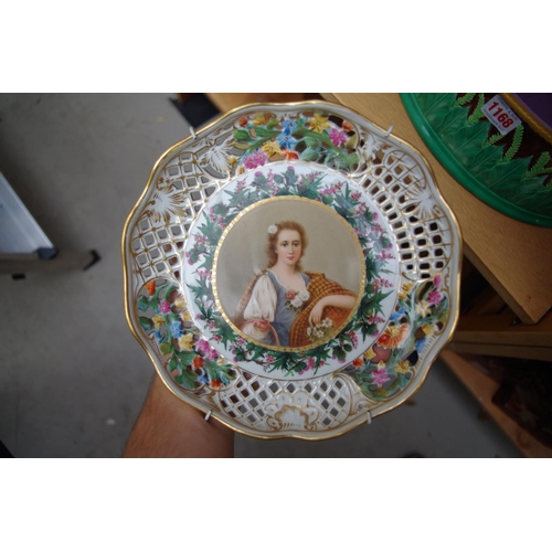 1168 - <strong>A Victorian George Jones majolica game dish,</strong> 29.5cm wide; together with a Vienna st...