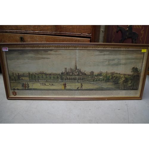 1179 - <strong>'The South-West Prospect of The City of Chichester',</strong> colour engraving, 30 x 80.5cm....