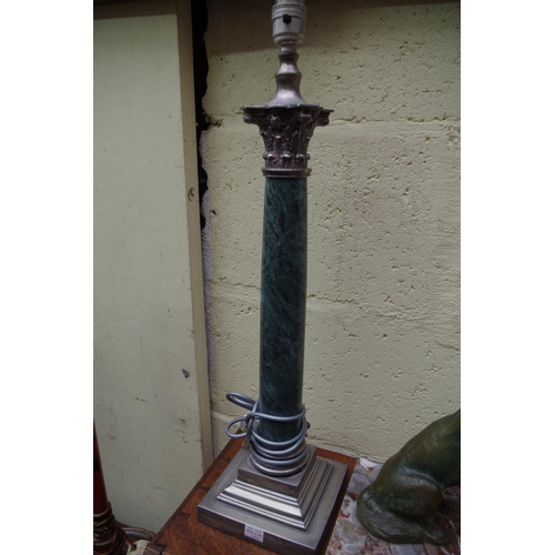 1186 - <strong>A pair of marble and plated metal table lamps,</strong>with Corinthian capitals, total...