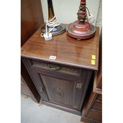 1187 - <strong>An Edwardian mahogany pot cupboard,</strong> the drawer stamped 2140, 44cm wide. ...