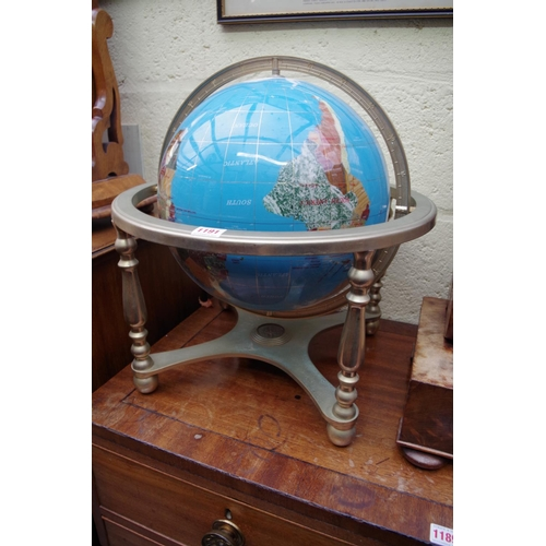 1191 - <strong>A pietra dura terrestrial globe,</strong>on plated stand, 47cm high....