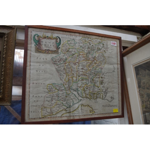 1197 - <strong>An antique hand coloured map of Hampshire, </strong>by Robert Morden, pl.37 x 42cm....
