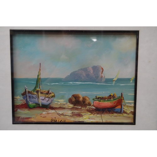 1200 - <strong>Continental School,</strong> fishing boat on a shoreline, indistinctly inscribed, oil on boa...