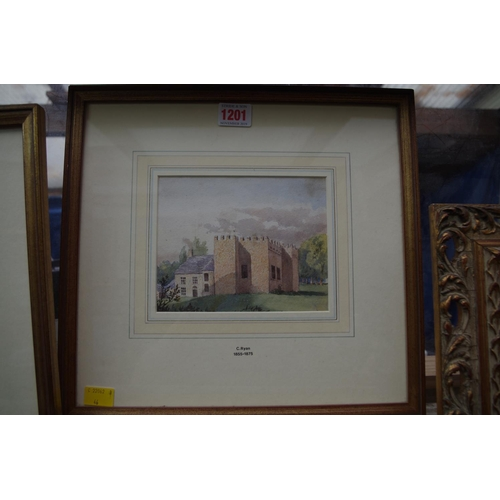 1201 - <strong>C Ryan, </strong>two Irish scenes, one of Shankill, watercolour, largest 12 x 15.5cm....