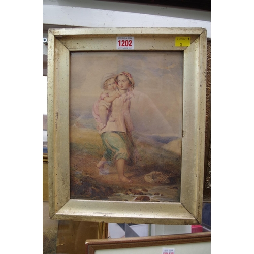 1202 - <strong>British School,</strong>19th century, mother and child, watercolour, 27.5 x 20.5cm; togethe...