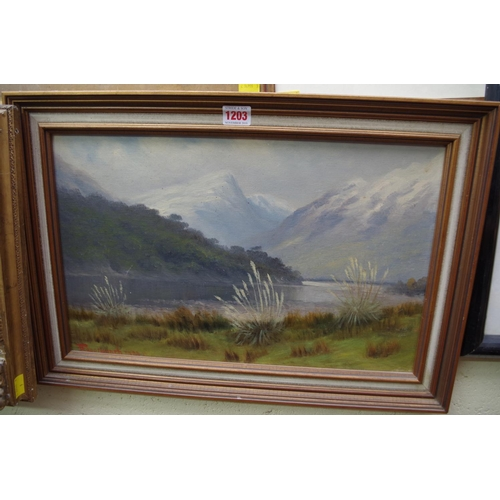 1203 - <strong>Frank Brookesmith,</strong>'The Dart Valley, near Queenstown, New Zealand', signed, oi...