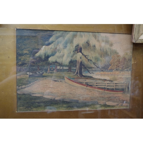 1204 - <strong>N. R.,</strong> 'A Cosy Corner, Windermere', initialled and dated 1900, watercolour, 21 x 31...