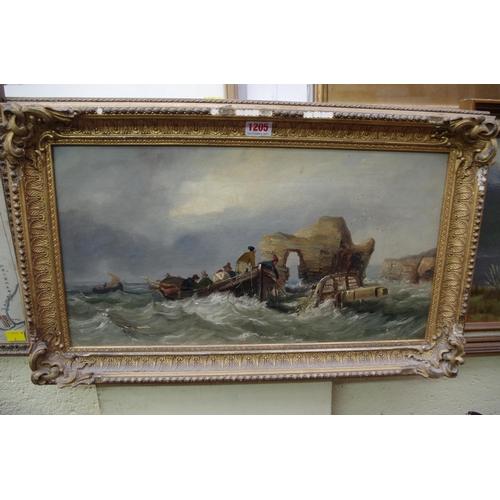 1205 - <strong>English school,</strong>19th century, 'Elephant Rock near Hartlepool', oil on canvas, 26 x ...