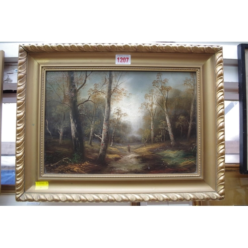 1207 - <strong>Manner of J Varley,</strong>figure on a woodland path, a pair, each bearing signature and d...