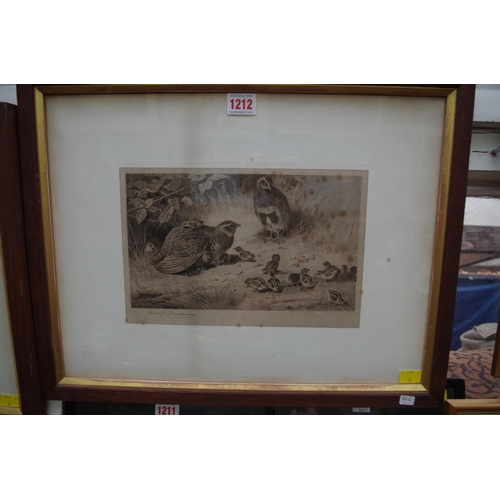 1212 - <strong>Archibald Thorburn,</strong>'Grouse', a pair, each signed, engraving, pl.19.5 x 28.5cm....