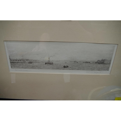 1213 - <strong>Rowland Langmaid,</strong>'Portsmouth Harbour', signed and titled in pencil, etching, ...