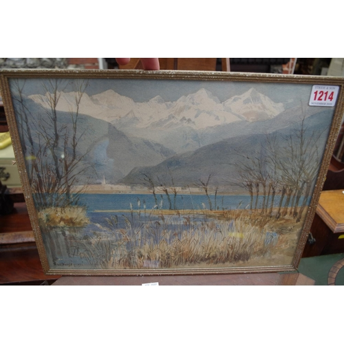 1214 - <strong>John Varley,</strong> a European lake scene, signed and dated '93, watercolour, 26 x 35.5cm....