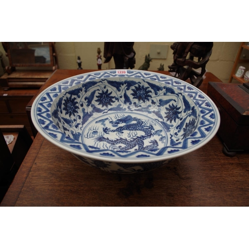 1220 - <strong>A Chinese blue and white bowl,</strong> 38cm diameter....