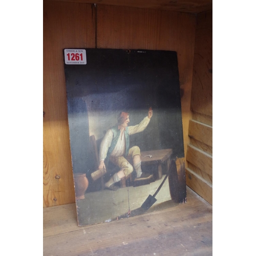 1261 - <strong>Continental School,</strong> 18th/19th century, a figure in a tavern, oil on oak panel, 26 x...