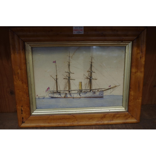 1262 - <strong>English School,</strong> a sailing vessel, initialled and dated 1886, watercolour, 13.5...