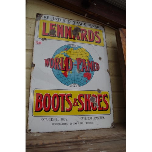 1288 - <strong>A 'Lennards World-Famed Boots & Shoes', </strong>enamel sign, 49.5 x 34cm....
