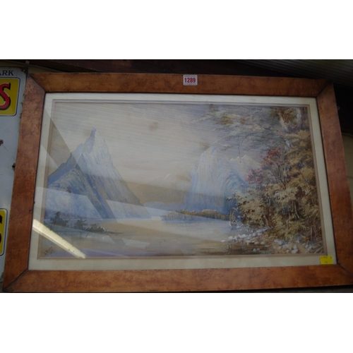 1289 - <strong>A Roscoe,</strong> an alpine lake, signed and dated 1879, watercolour, 32 x 56cm, in a maple...