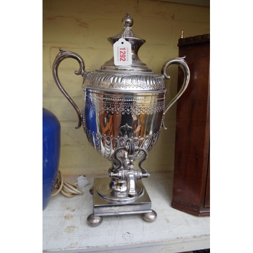1292 - <strong>An electroplated tea urn or samovar and cover,</strong> 43cm high....