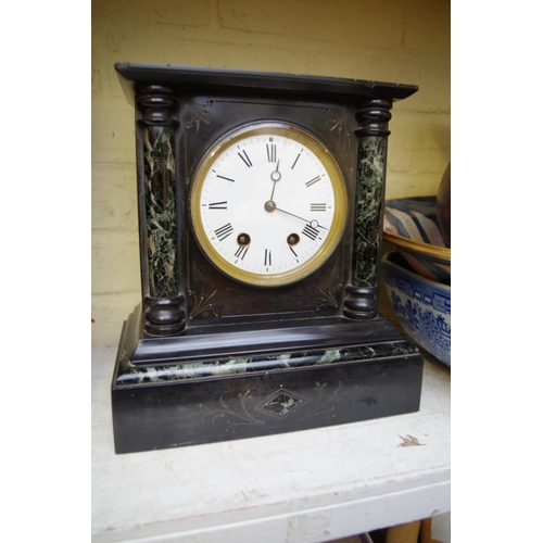 1307 - <strong>A slate and marble mantel clock,</strong> 27cm high....