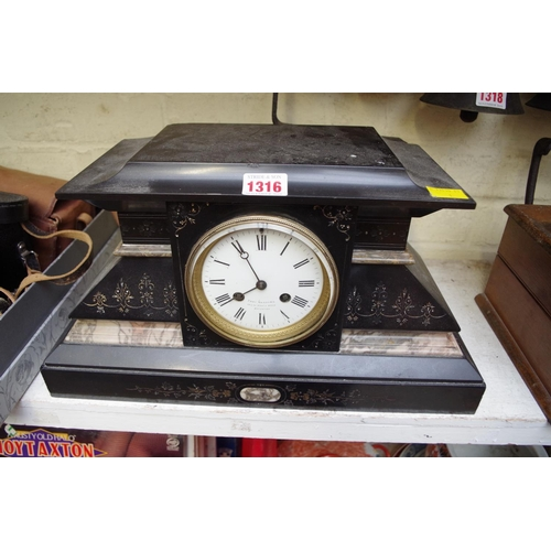 1316 - <strong>A slate and marble mantel clock,</strong> 40cm wide....