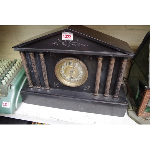 1322 - <strong>A slate mantel clock, </strong>43cm wide....