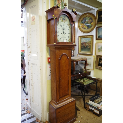 1353 - <strong>An early 19th century oak and mahogany eight day longcase clock, </strong>the 12in painted d...