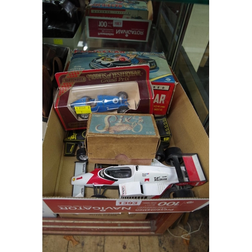 1393 - <strong>Toys:</strong> a Made In Japan battery powered Mystery Action Police Car, boxed; together wi...