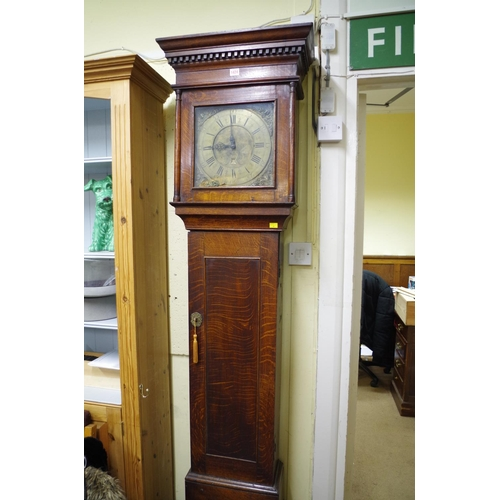 1424 - <strong>An oak thirty hour longcase clock,</strong>the 11in square brass dial inscribed 'Jno T...