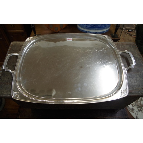 1444 - <strong>An Art Deco electroplate twin handled tray,</strong> by Mappin & Webb, 60.5cm wide. ...