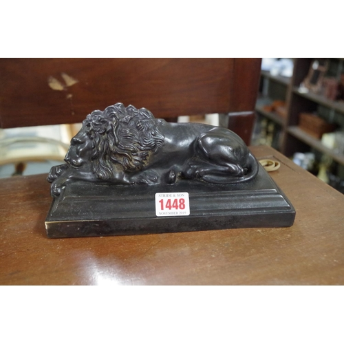 1448 - <strong>Two patinated bronze lions, </strong>23cm wide....