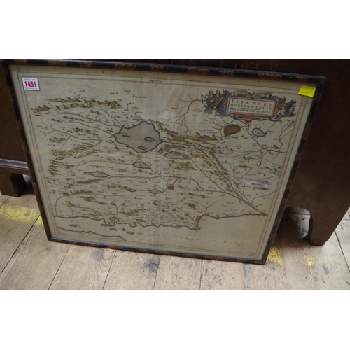 1451 - <strong>An antique hand coloured map of 'The West Part of Fife',</strong>by J Blaeu, pl.42 x 54.5cm...