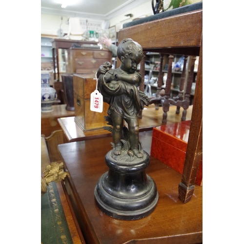 1479 - <strong>A bronze figure of a child, </strong>possibly emblematic of summer, on ebonized socle, total...